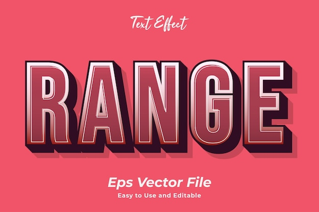 Text effect range easy to use and editable premium vector