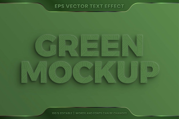 Text effect in realistic 3d green words font styles theme editable embossed texture concept