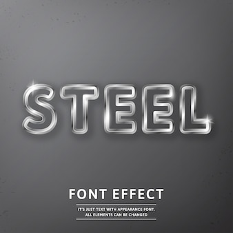 Text effect realistic steel or metal royal