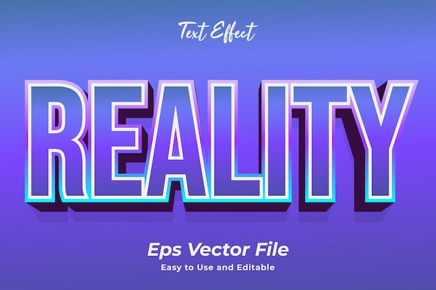 Text effect reality editable and easy to use premium vector