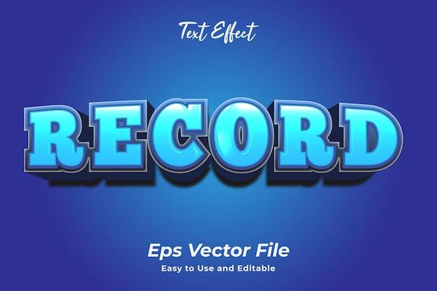 テキスト効果レコード編集可能で使いやすいプレミアムベクター
