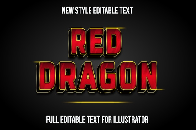 Text effect red dragon color red and black gradient
