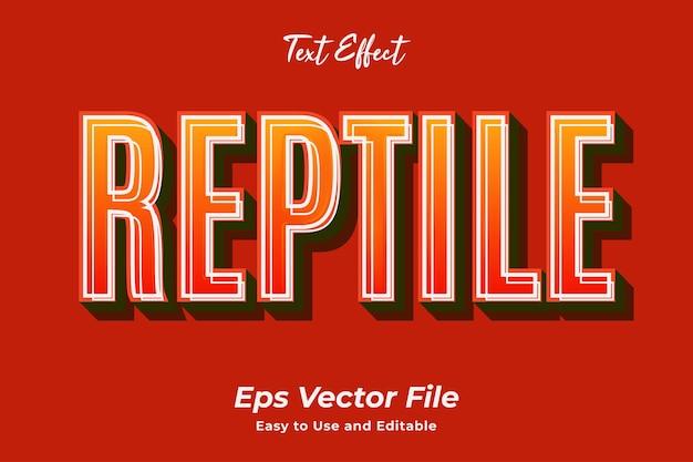 텍스트 효과 파충류 편집 가능하고 사용하기 쉬운 프리미엄 벡터