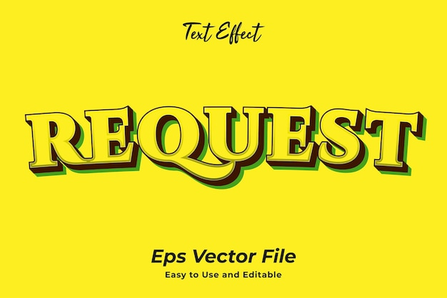 Text effect request editable and easy to use premium vector