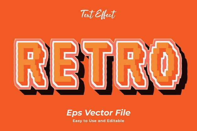 Text effect retro editable and easy to use premium vector