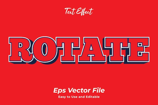 Text effect rotate editable and easy to use premim vector