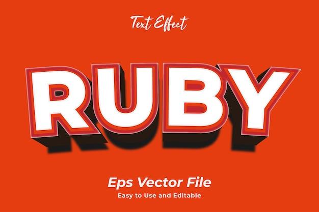 Текстовый эффект ruby редактируемый и простой в использовании премиум векторы