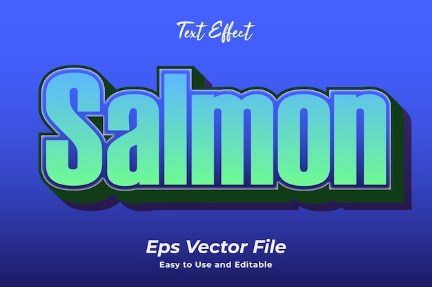 Text effect salmon easy to use and editable premium vector