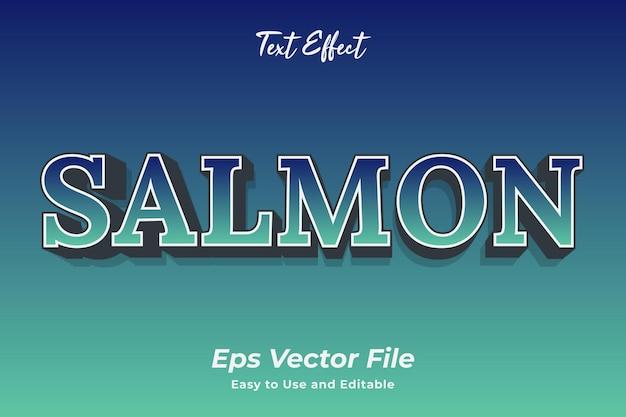 Текстовый эффект лосось редактируемый и простой в использовании премиум векторы