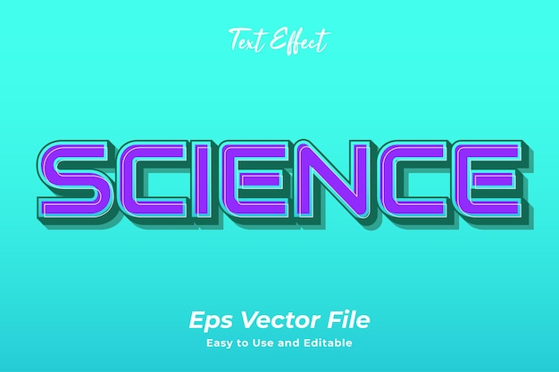 Текстовый эффект наука редактируемый и простой в использовании премиум векторы