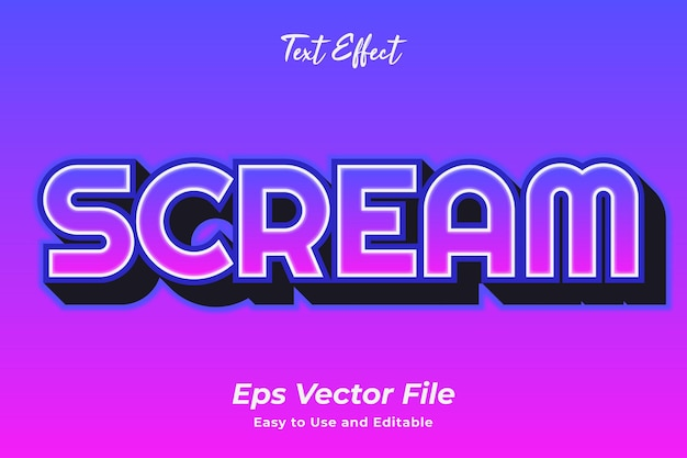Text effect scream editable and easy to use premium vector