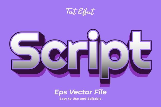 Текстовый эффект скрипт простой в использовании и редактируемый премиум векторы