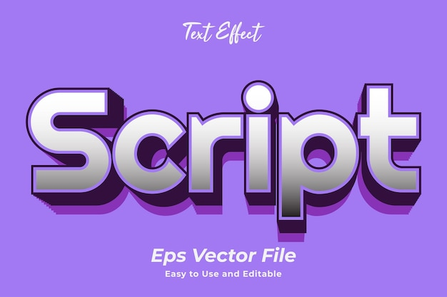 Text effect script easy to use and editable premium vector