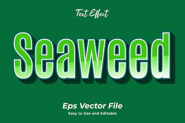 Текстовый эффект морские водоросли легко использовать и редактировать премиум векторы