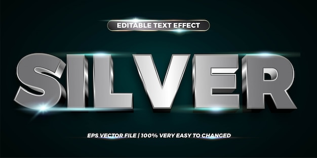 Text effect in  silver words text effect theme editable metal chrome concept