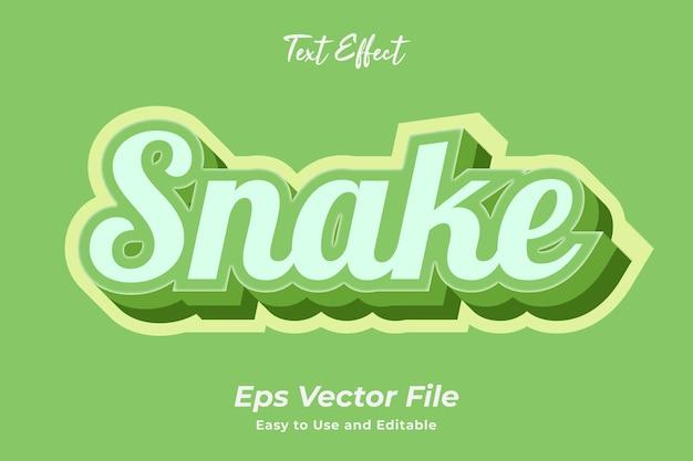 Текстовый эффект змея редактируемый и простой в использовании премиум векторы