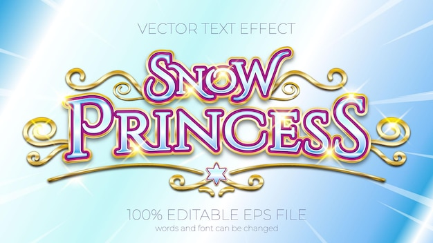 Text effect of snow princess vector illustration