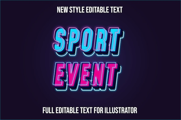 Text effect  sport event color blue and pink gradient