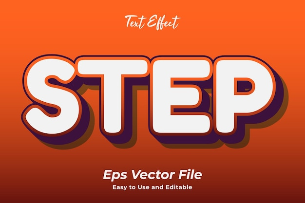 Text effect step editable and easy to use premium vector