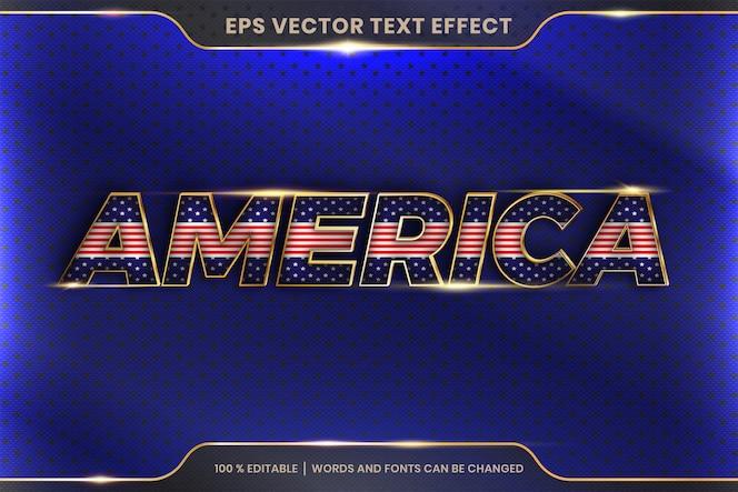 Stile effetto testo in parole america, concetto di colore oro metallo modificabile tema effetto testo