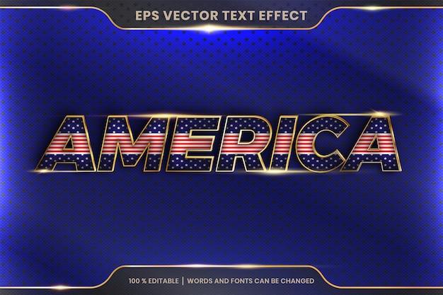 Стиль текстового эффекта в словах америки, тема текстового эффекта, редактируемая концепция цвета металла и золота