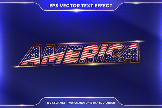 Стиль текстового эффекта в реалистичных 3d-словах америки, тема стиля эффекта шрифта, редактируемая концепция цвета металла и золота