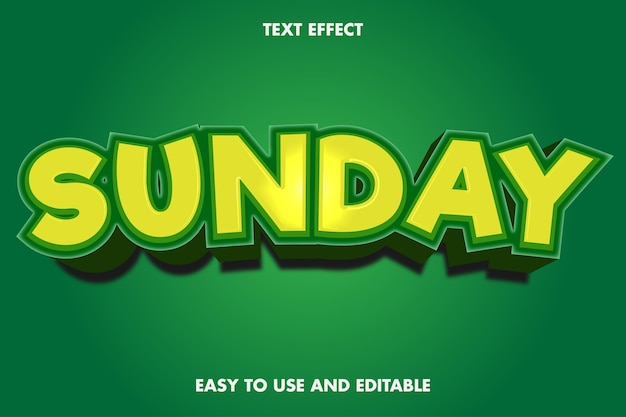 Text effect - sunday. editable font style.