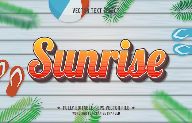 Text effect sunrise gradient style with summer season theme background