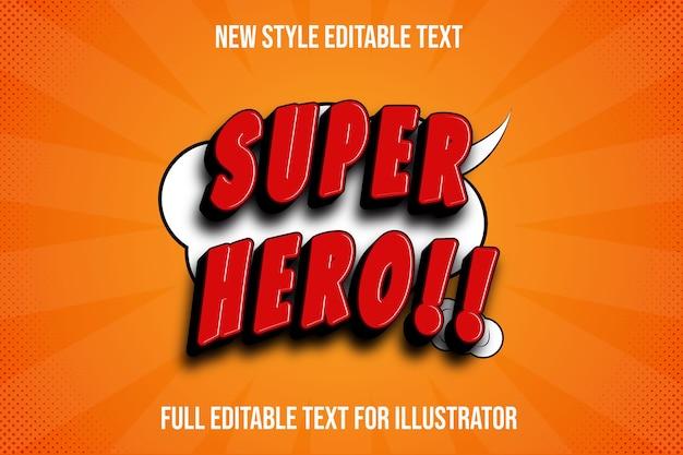 Текстовый эффект супергероя цвета красный и черный градиент