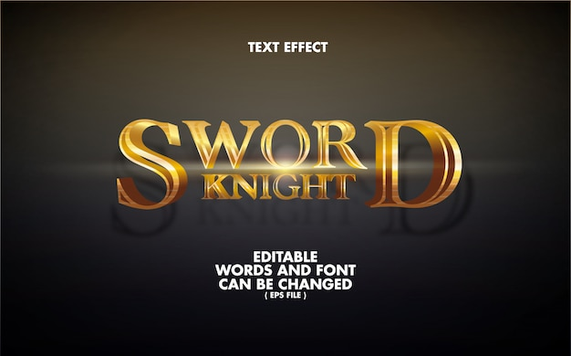Text effect sword knight editable words