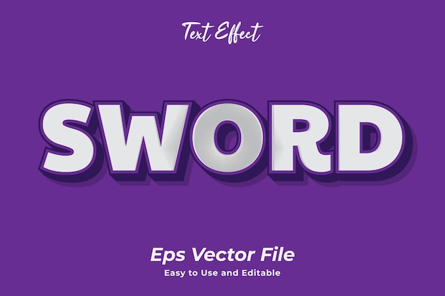Text effect sword ready to use and editable