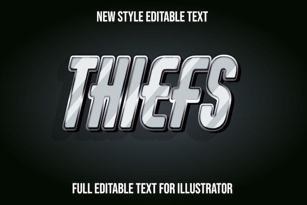 Text effect  thief color gray and black gradient