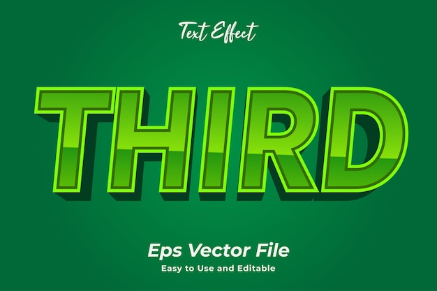 Text effect third editable and easy to use premium vector