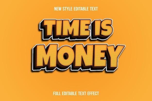 텍스트 효과 시간은 연한 갈색 및 갈색 그라디언트에서 돈입니다.