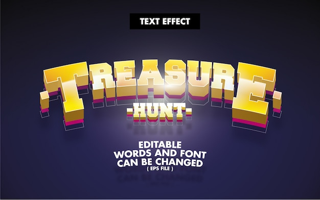 Text effect treasure hunt editable words