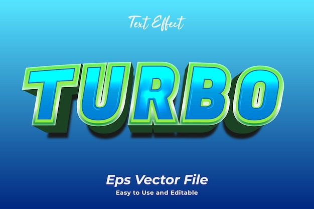 Text effect turbo editable and easy to use premium vector