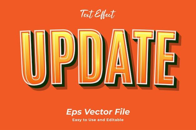 Текстовый эффект обновление редактируемый и простой в использовании премиум векторы
