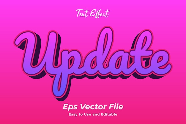Text effect update editable and easy to use premium vector