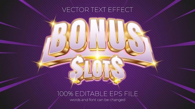 Text effect vector illustration,bonus slots text effect