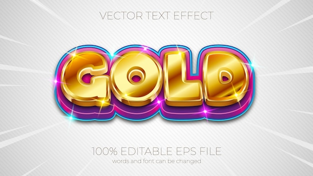Text effect vector illustration,gold text effect