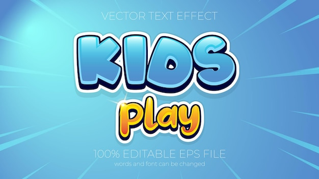 Text effect vector illustration,kids play text effect