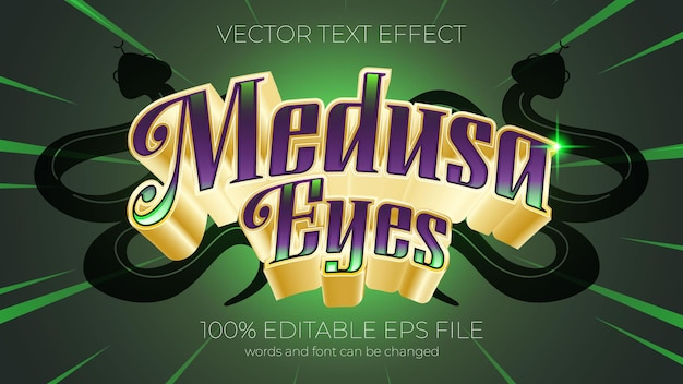 Text effect vector illustration, medusa eyes