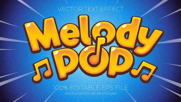 Text effect vector illustration, melody pop text effect