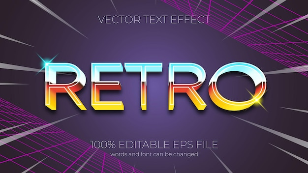 Text effect vector illustration, retro text effect