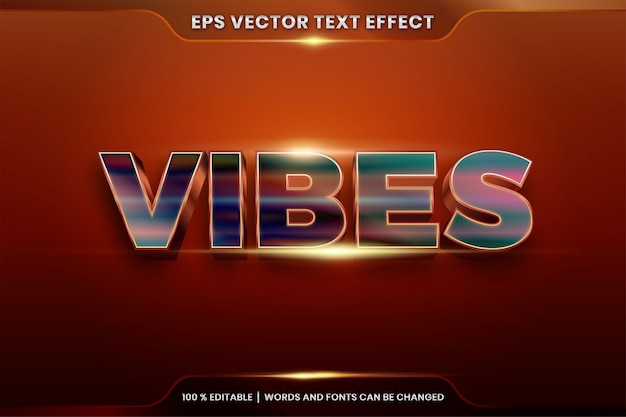 Text effect vibes gold words, font styles theme editable realistic metal gradient gold and colorful combination with flare light concept