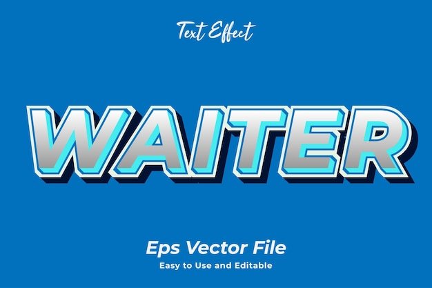 Text effect waiter editable and easy to use premium vector