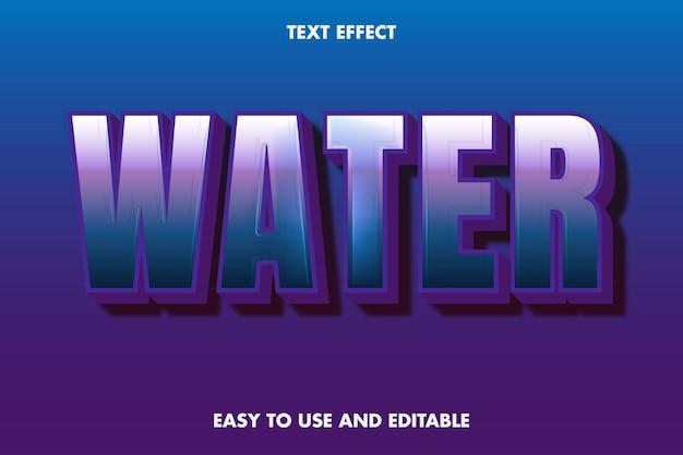 텍스트 효과-물. 편집 가능한 글꼴 스타일