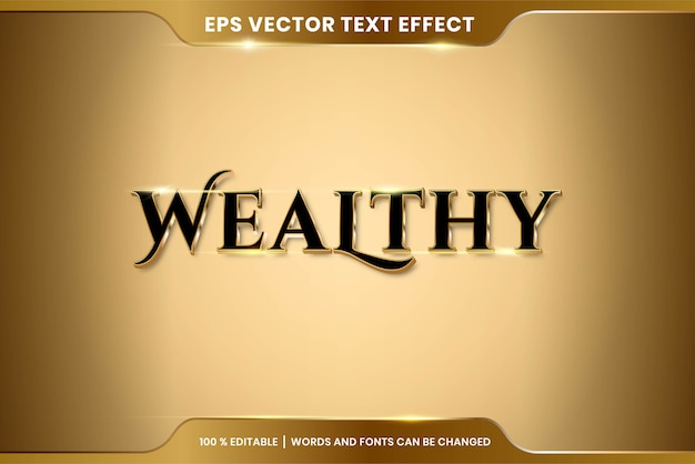 Text effect in wealthy words text effect theme editable metal gold color concept