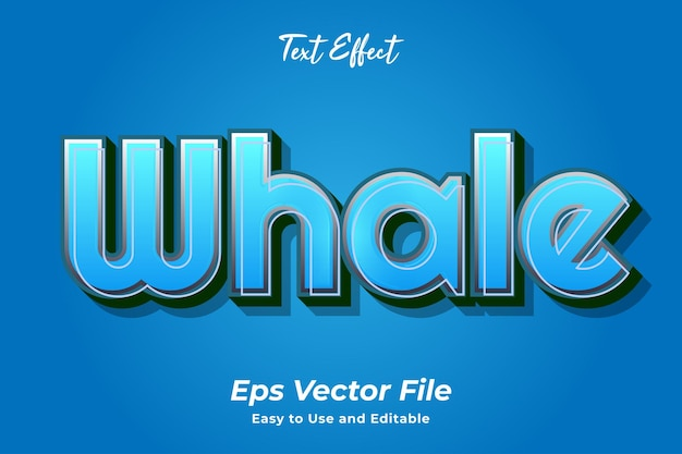 Text effect whale editable and easy to use premium vector