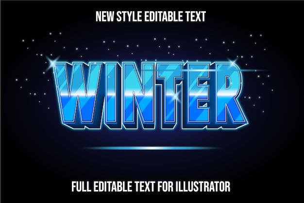 텍스트 효과 겨울 색상 파란색과 흰색 그라데이션